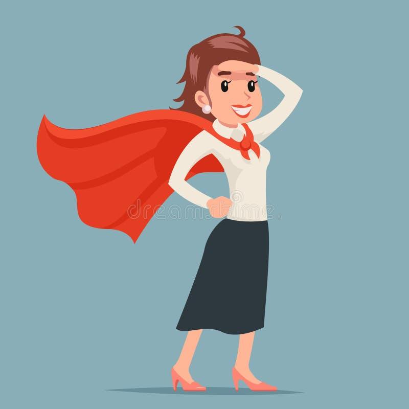 Haga frente a al superhéroe de sexo femenino del poder listo para el vector retro del diseño de la historieta de la mujer del car ilustración del vector