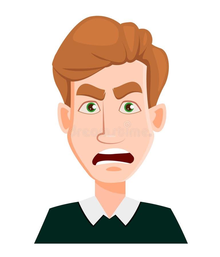 Haga frente a la expresión de un hombre con el pelo rubio - enojado ilustración del vector