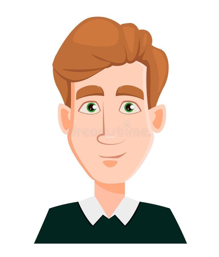 Haga frente a la expresión de un hombre con el pelo rubio - sonriendo Emociones masculinas stock de ilustración