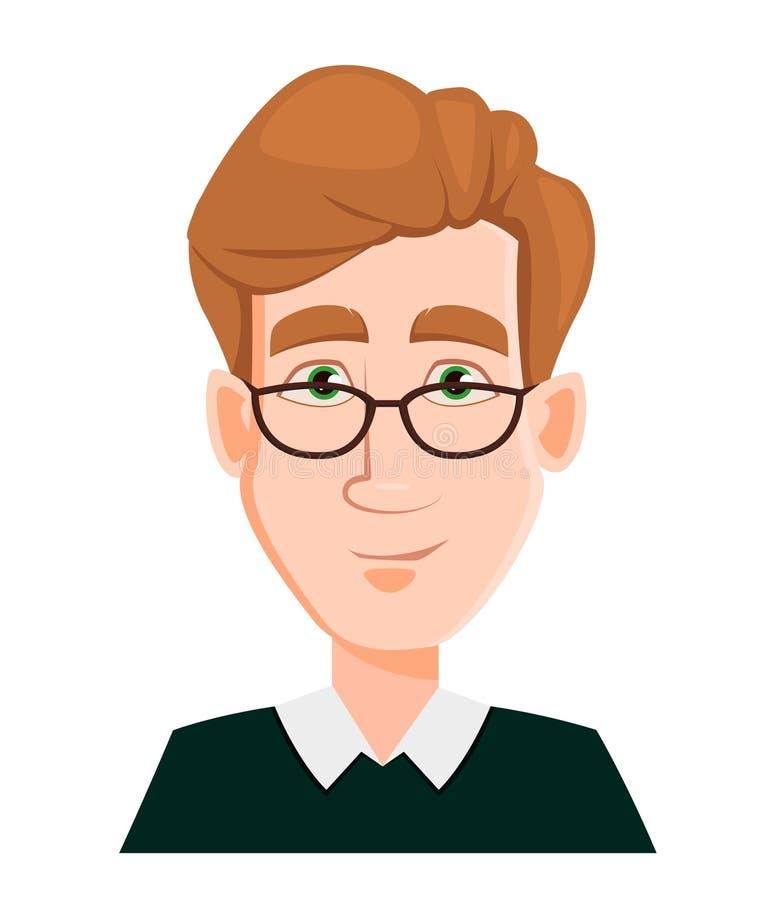 Haga frente a la expresión de un hombre en vidrios con el pelo rubio - sonriendo ilustración del vector
