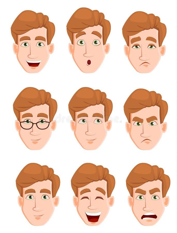 Haga frente a las expresiones de un hombre con el pelo rubio ilustración del vector