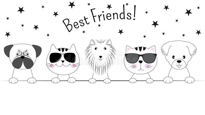 Haga frente a los gatos y a los mejores amigos de los perros aislados en el fondo blanco Silueta del contorno stock de ilustración