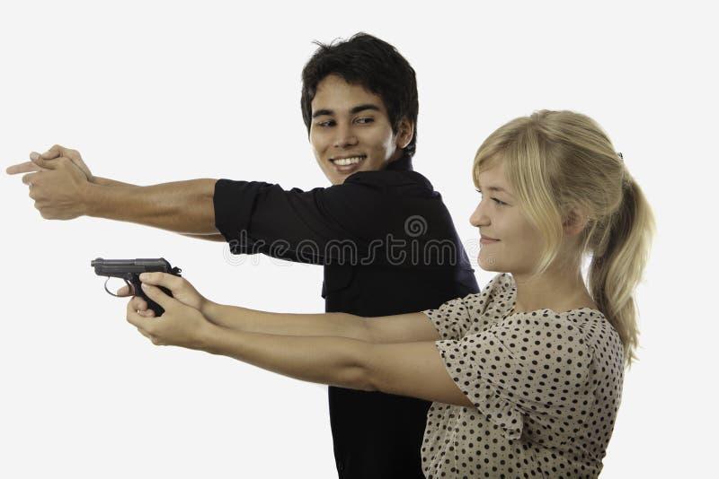 Haga fuego sobre la instrucción de seguridad foto de archivo