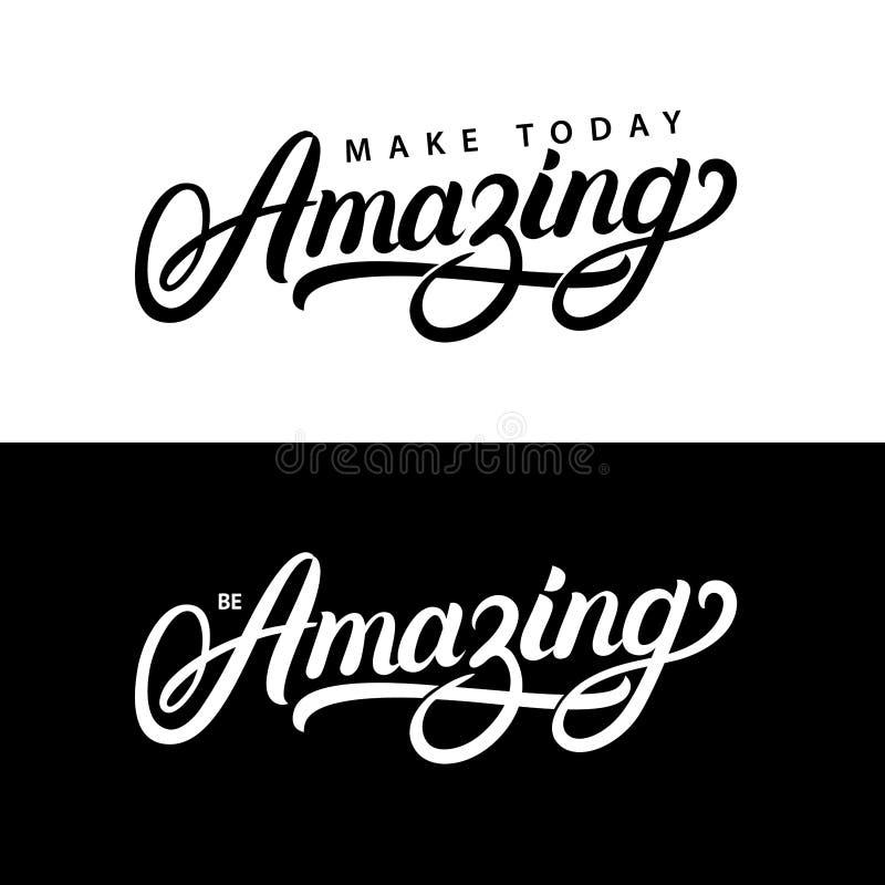 Haga hoy sorprender y esté sorprendiendo citas escritas mano de las letras libre illustration