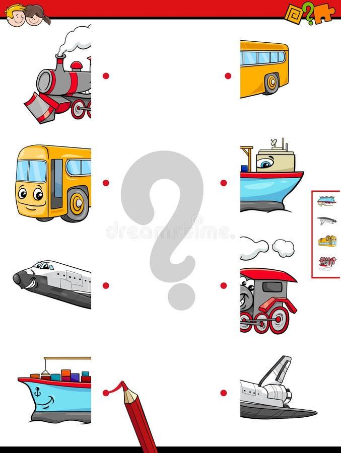 Haga juego las mitades de los caracteres del vehículo ilustración del vector