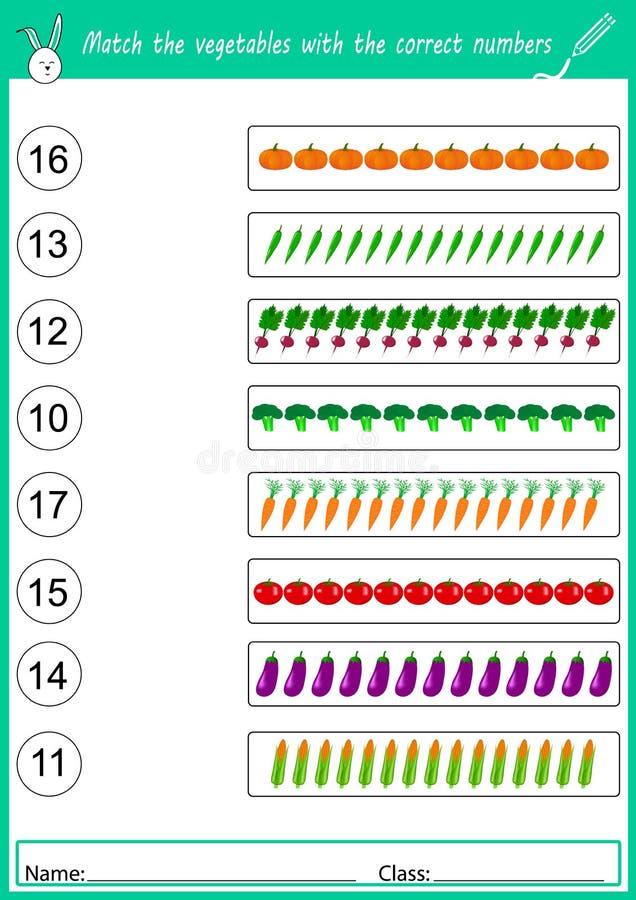 haga juego las verduras con los números correctos ilustración del vector