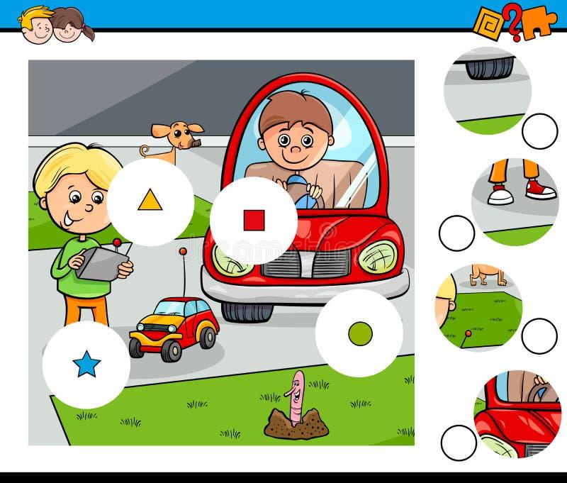 Haga juego los pedazos desconciertan con los muchachos y los juguetes del niño ilustración del vector