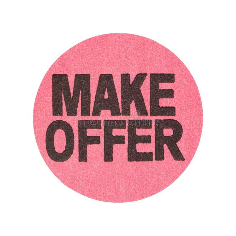 Haga la etiqueta engomada de la venta de garaje de la oferta fotografía de archivo