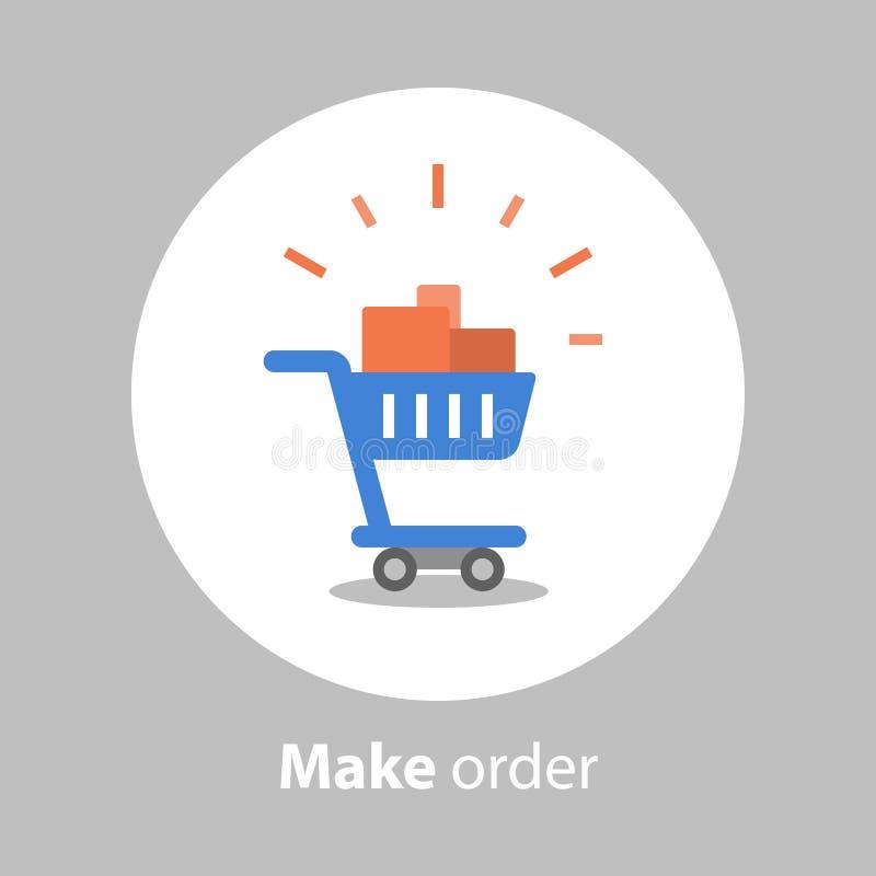 Haga la orden, carro de la compra lleno, programa de la lealtad, icono plano ilustración del vector