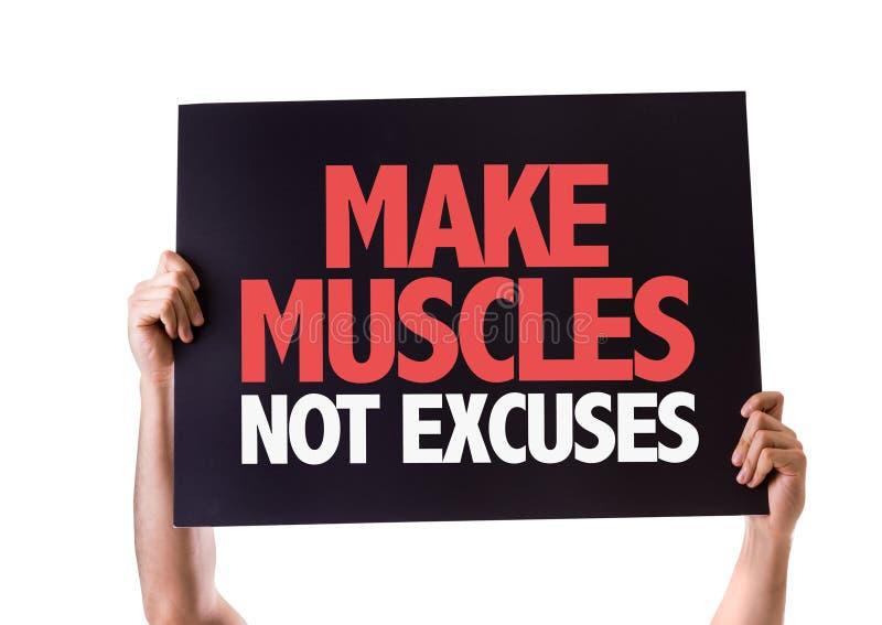 Haga la tarjeta de las excusas de los músculos no aislada en blanco imagen de archivo