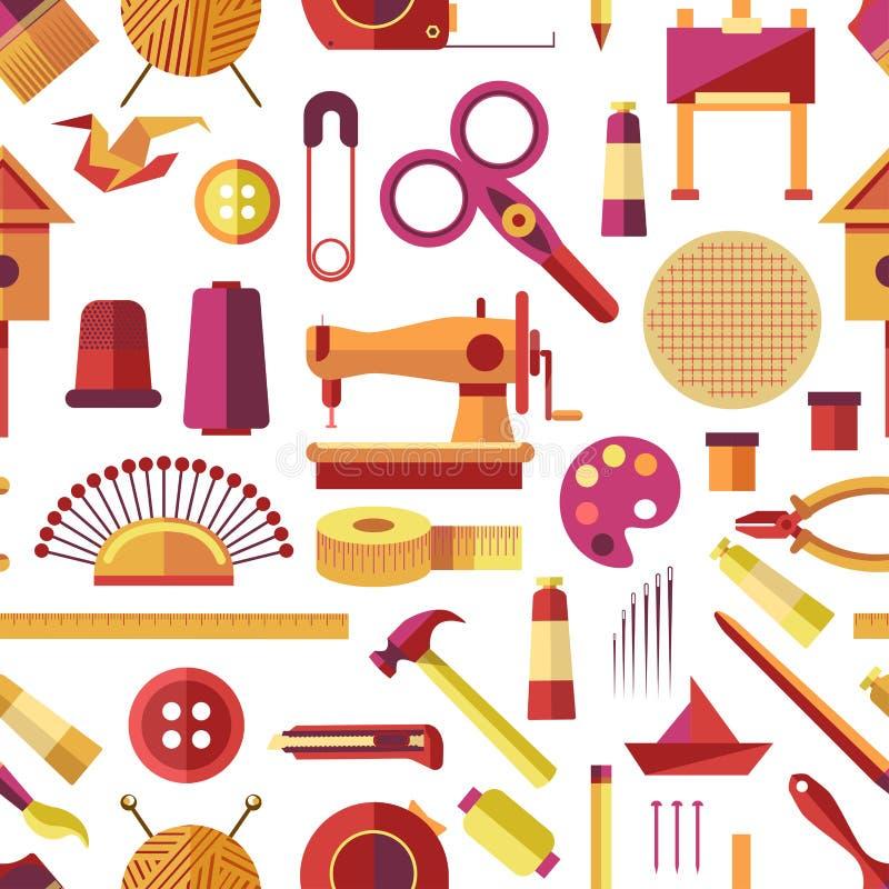 Haga las herramientas y los instrumentos a mano hechos a mano, vector de los artículos de la afición libre illustration