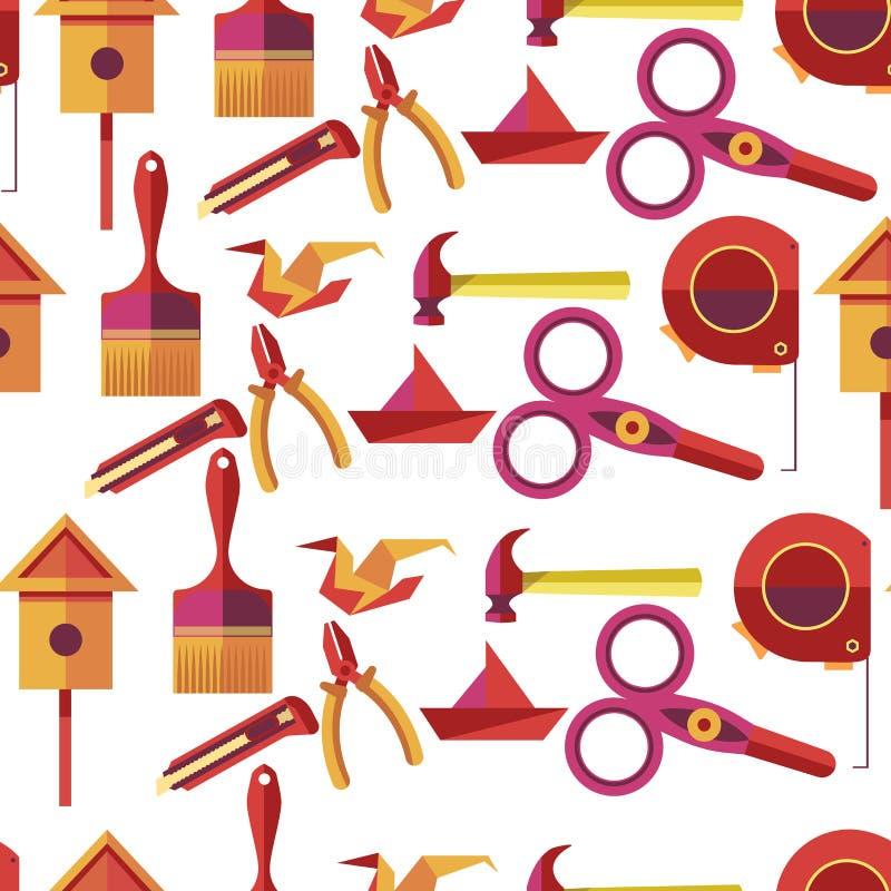 Haga las herramientas y los instrumentos a mano hechos a mano, vector de los artículos de la afición ilustración del vector