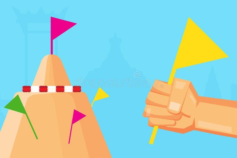 Haga las pilas de la arena en templos y bórdelas con las banderas coloridas ilustración del vector