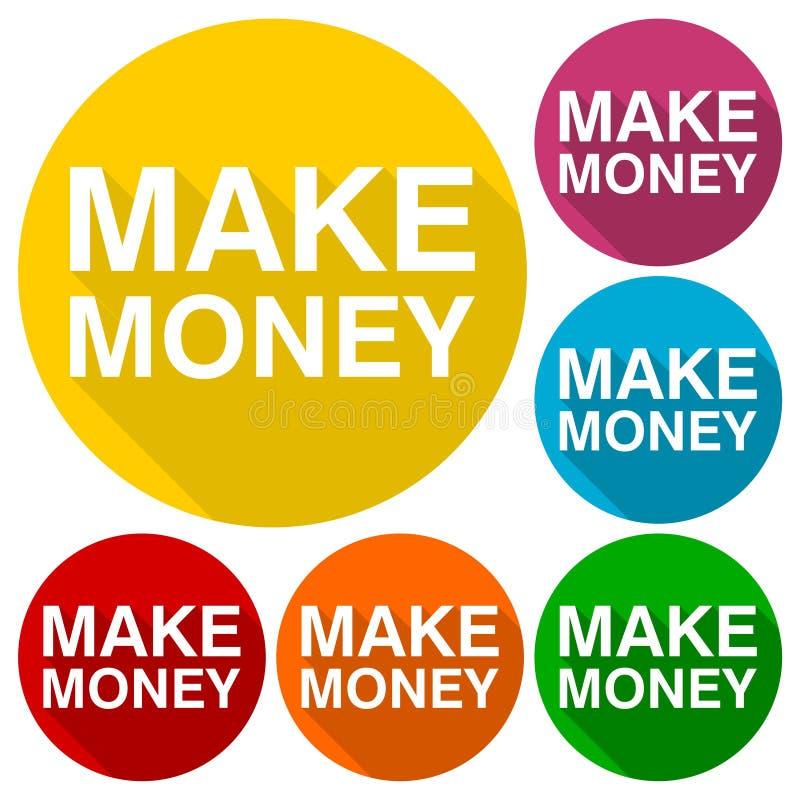 Haga los iconos del dinero fijados con la sombra larga stock de ilustración