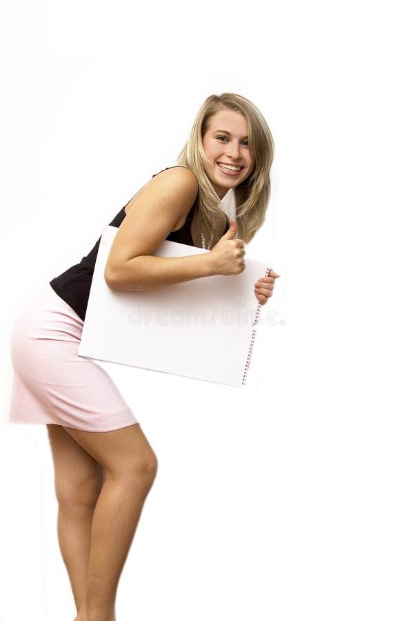 Haga publicidad de la muchacha de la cartelera fotografía de archivo