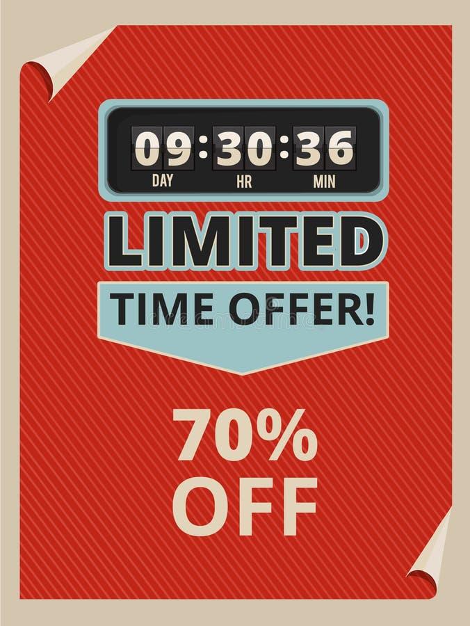 Haga publicidad del cartel con el reloj de la cuenta descendiente y un poco de texto sobre ventas Imágenes del vintage en estilo  libre illustration