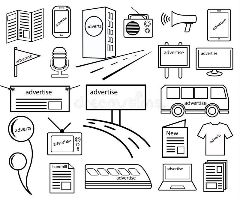 Haga publicidad del icono de los canales stock de ilustración