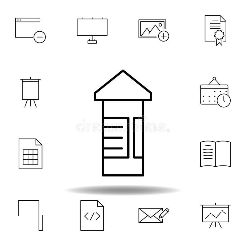 Haga publicidad del icono del esquema del camino del tablero Sistema detallado de iconos de los ejemplos de las multimedias del u stock de ilustración