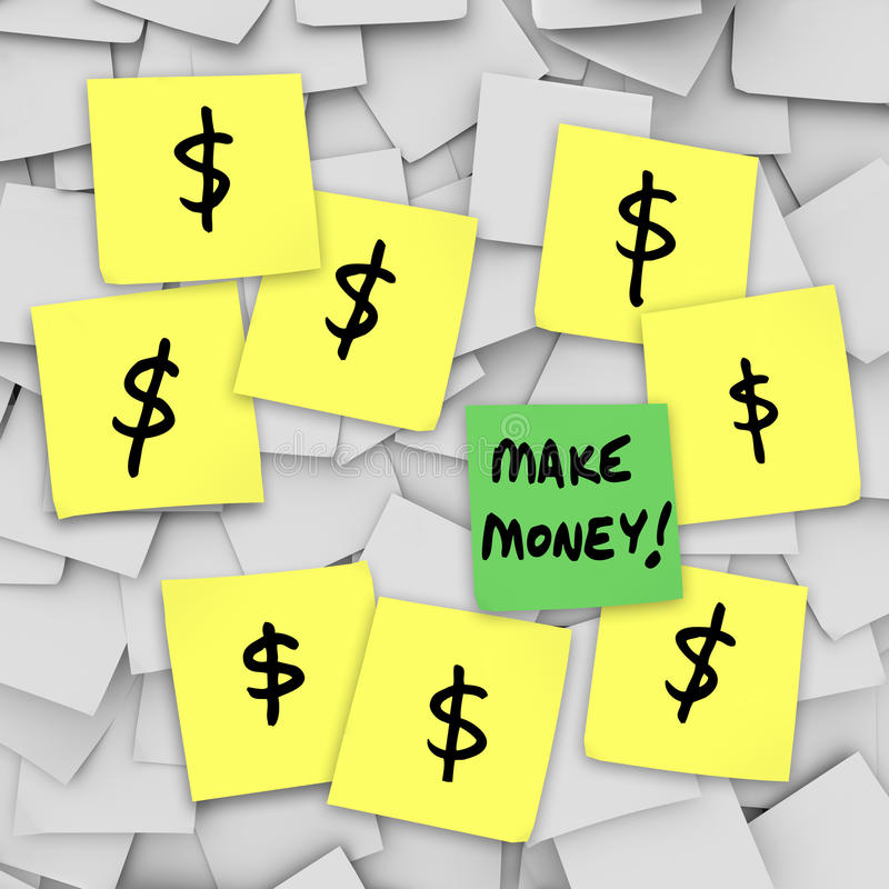 Haga que dinero las muestras de dólar pegajosas de las notas consiguen a Rich Scheme stock de ilustración