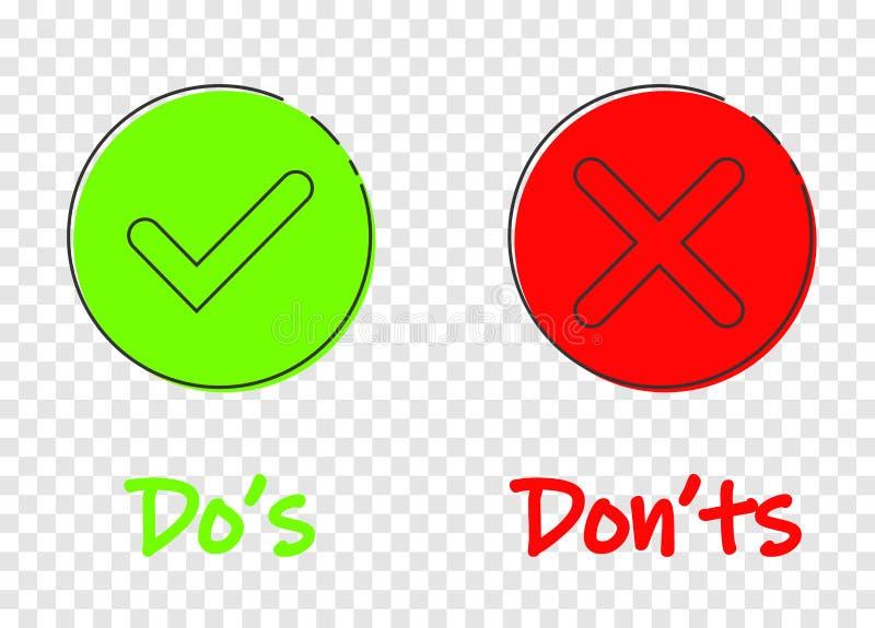 Haga s y ponga los ts firman el icono en estilo plano Como, ejemplo desemejante del vector en fondo transparente Sí, ningún negoc ilustración del vector