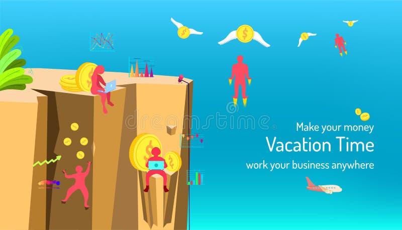Haga su dinero de vacaciones miden el tiempo gestión su márketing de negocio dondequiera fondo del color de la belleza Ilustraci? stock de ilustración