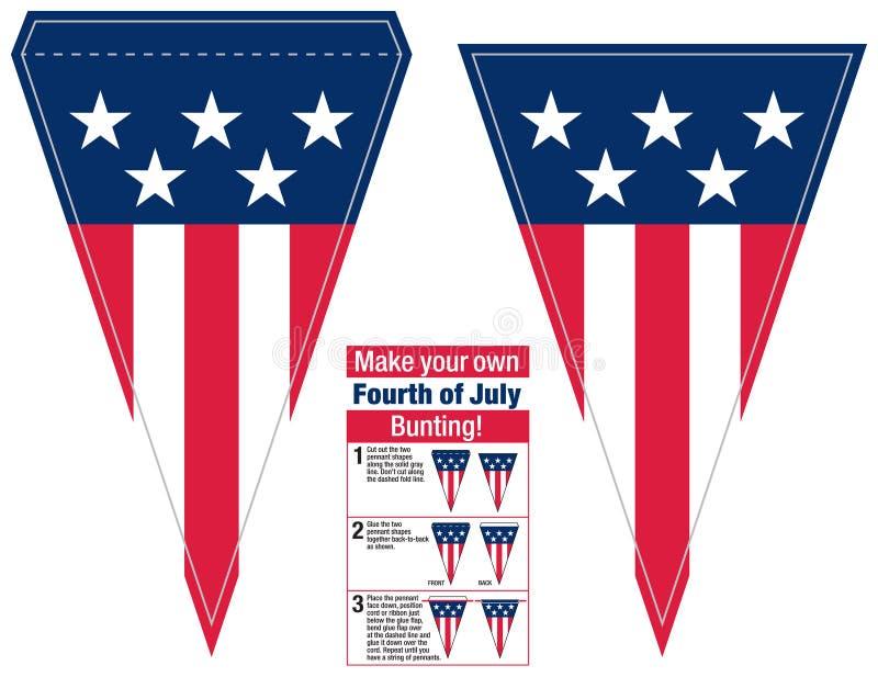 Haga su propio cuarto de banderas del banderín del empavesado del Día de la Independencia de julio libre illustration