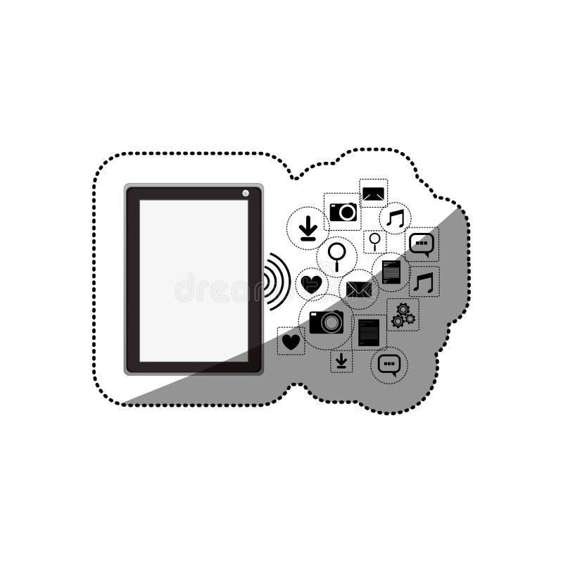 Haga tabletas el diseño determinado social del icono de los medios y de las multimedias ilustración del vector