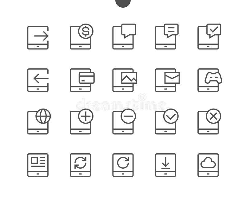 Haga tabletas el pixel de UI que el vector Bien-hecho a mano perfecto alinea ligeramente los iconos 48x48 listos para la rejilla  stock de ilustración