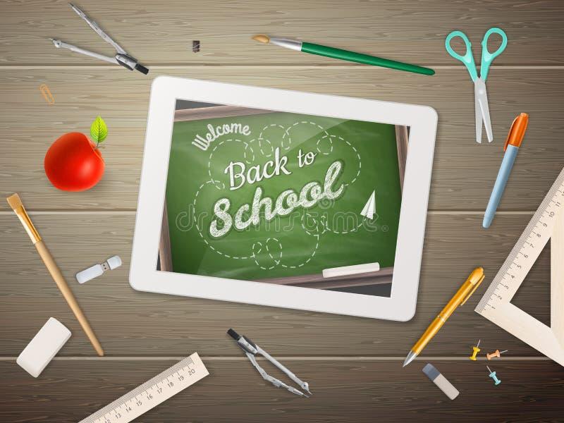 Haga tabletas en el escritorio de los estudiantes EPS 10 ilustración del vector
