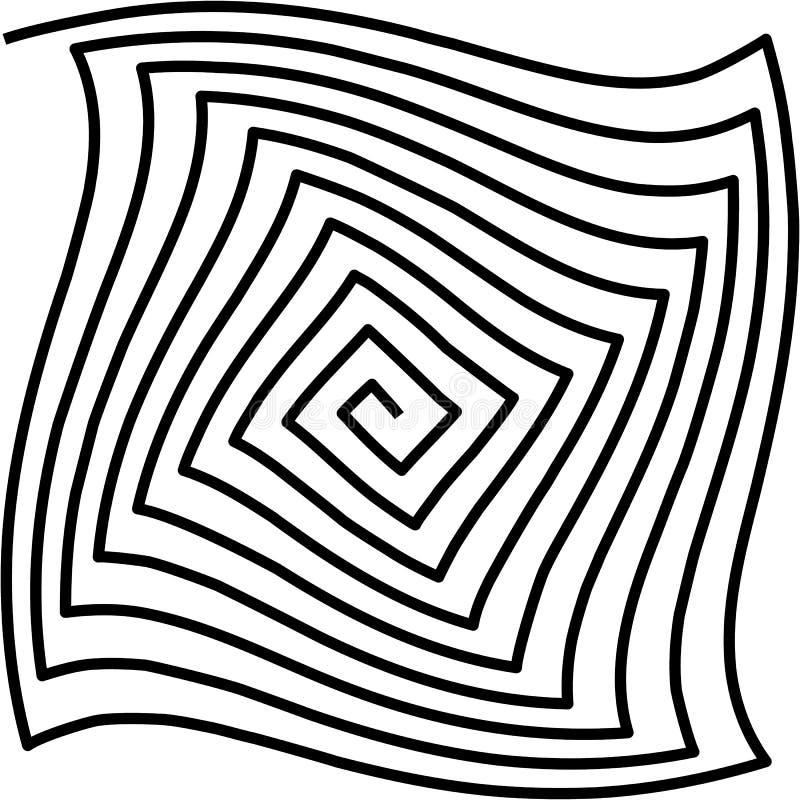 Haga un túnel, torció el espiral en el fondo blanco, modelo psicodélico ilustración del vector