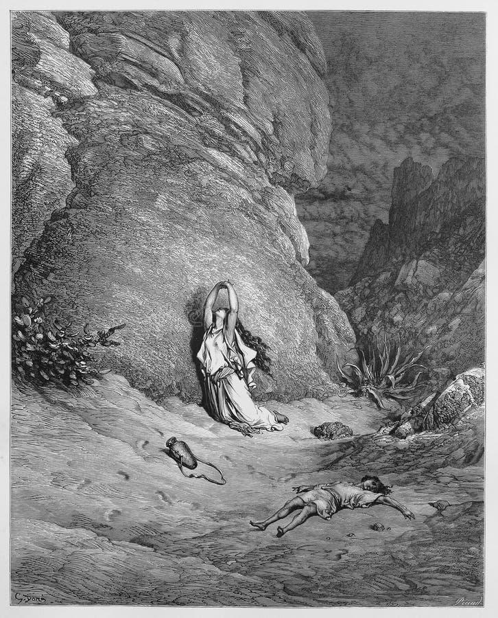 Hagar och Ishmael i vildmarken royaltyfri foto