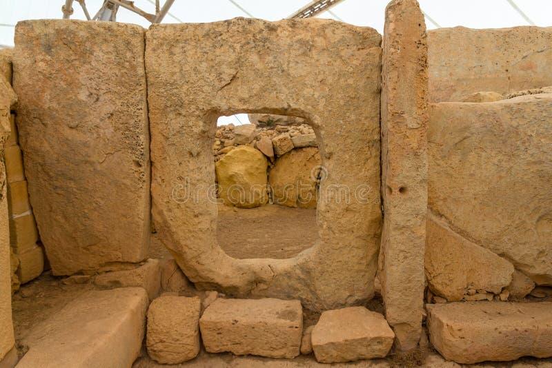 Hagar Qim寺庙孔 免版税库存图片