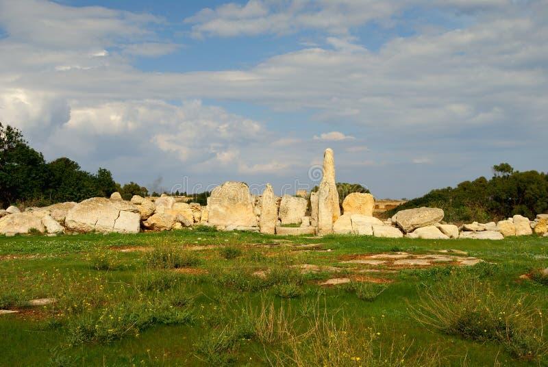 Hagar Qim - complexo megalítico do templo na ilha de Malta imagens de stock royalty free