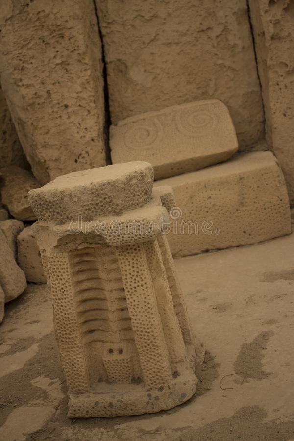 Hagar Qim Temple   Altare & spiral royaltyfri foto