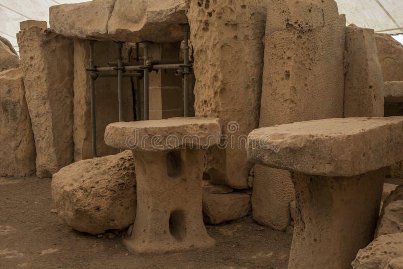 Hagar Qim Temple   Altareplats royaltyfria foton