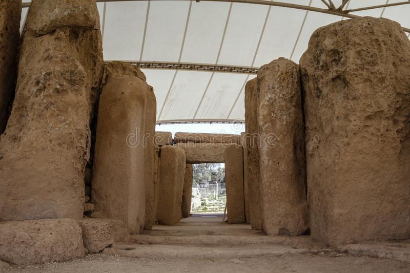 Hagar Qim Temple   Inom arkivfoto