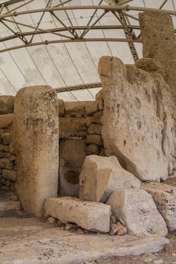 Hagar Qim Temple   Oracle kammare arkivfoton