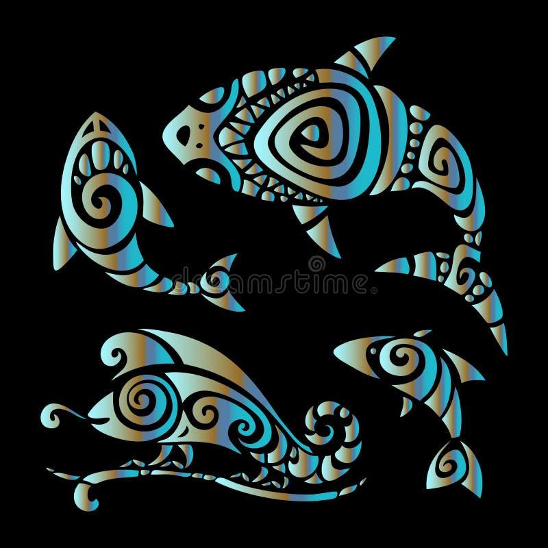 hagedissen Polynesische tatoegeringsstijl royalty-vrije illustratie