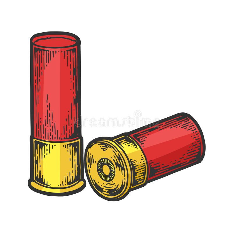 Hagelgevärkassettfärg skissar gravyrvektorn vektor illustrationer
