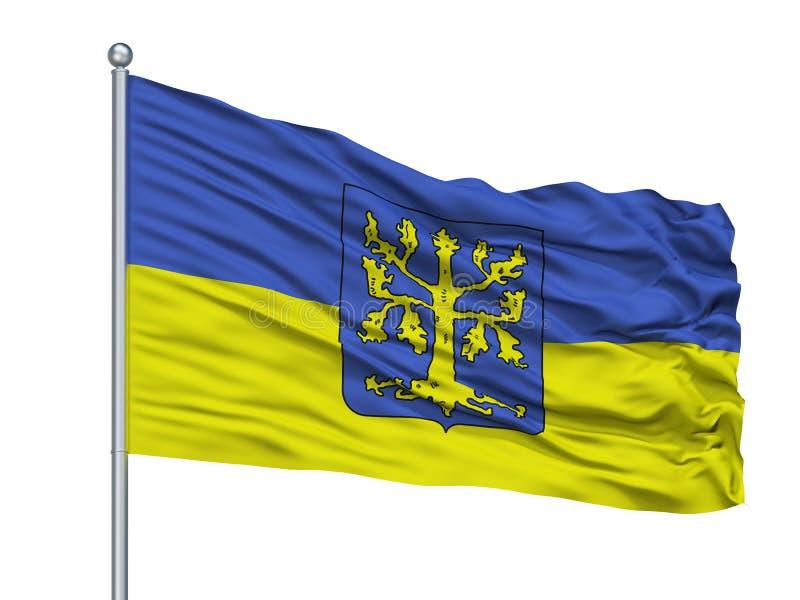 Hagen City Flag On Flagpole, Alemania, aislada en el fondo blanco libre illustration
