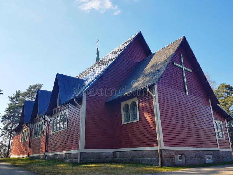 Hagfors, Su?cia 23 de abril de 2019 A igreja em Hagfors imagem de stock