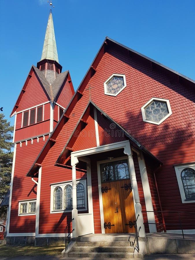 The church in Hagfors, Sweden. Hagfors, Sweden, April 23, 2019. The church in Hagfors in springtime stock photo