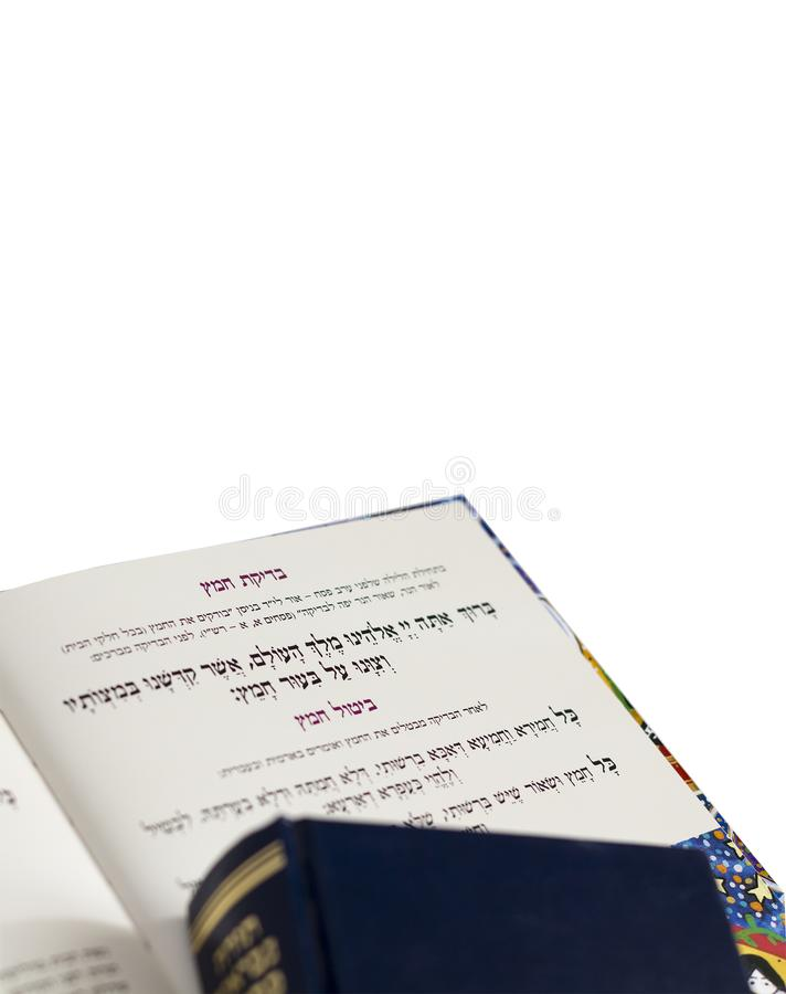 Haggadah van de Joodse teksten van Pesach voor Paschaavond isoleer royalty-vrije stock afbeeldingen