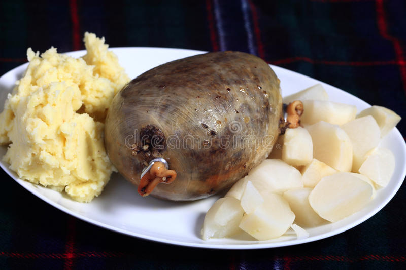 Haggis avec le veg photo stock