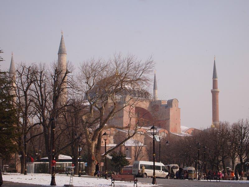 Hagia索非亚在一个冬日 库存图片
