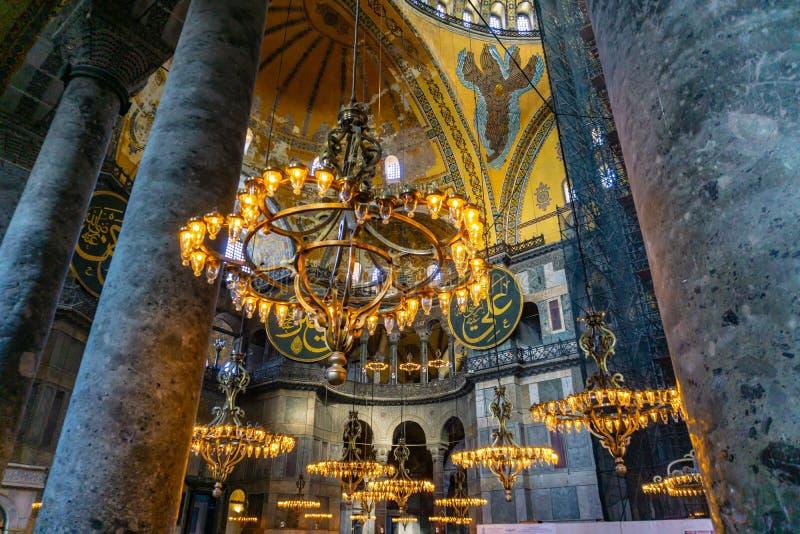 Hagia antigo Sophia ou Aya Sofya são marcos superiores de Istambul Interior do vintage de Hagia Sophia fotos de stock royalty free