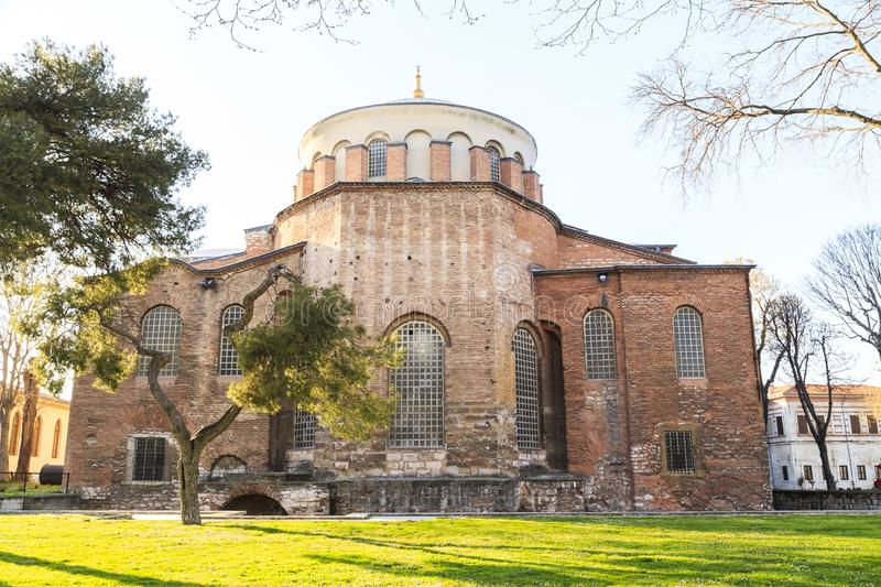Istanbul, Turkey - 04.03.2019: Hagia Irene church Aya Irini in the park of Topkapi Palace in Istanbul, Turkey. Hagia Irene church Aya Irini in the park of royalty free stock photo