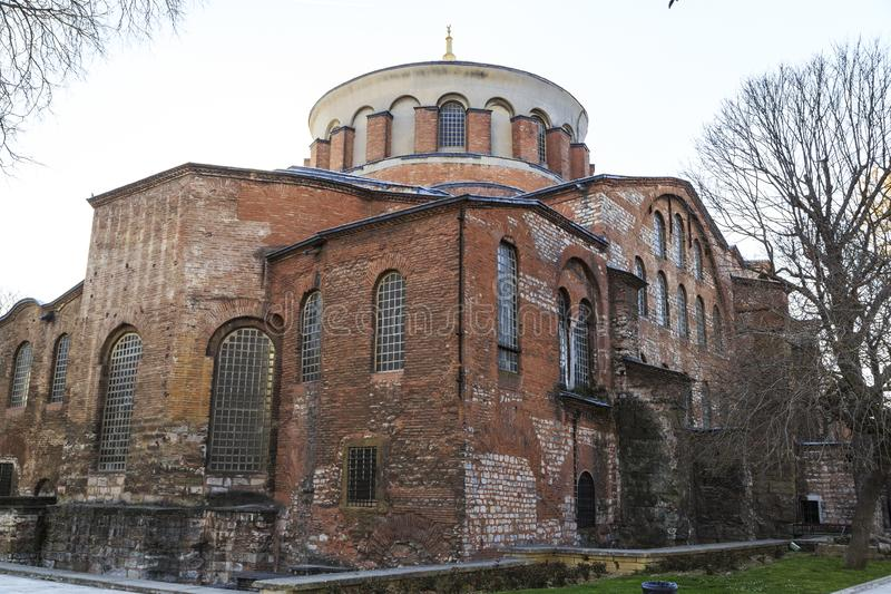 Istanbul, Turkey - 04.03.2019: Hagia Irene church Aya Irini in the park of Topkapi Palace in Istanbul, Turkey. Hagia Irene church Aya Irini in the park of stock image