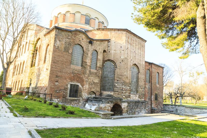 Istanbul, Turkey - 04.03.2019: Hagia Irene church Aya Irini in the park of Topkapi Palace in Istanbul, Turkey. Hagia Irene church Aya Irini in the park of stock photography