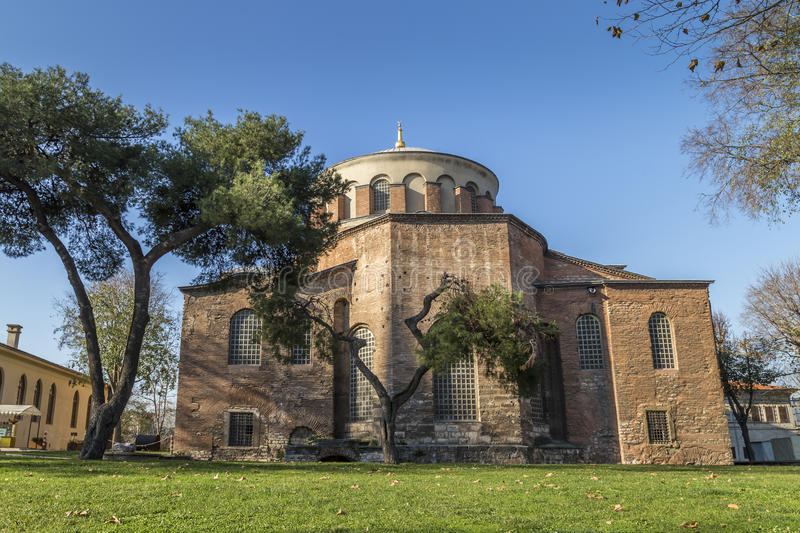 Hagia Irene church in Istanbul. Hagia Irene or Hagia Eirene (Greek: Ἁγία Εἰρήνη, Holy Peace, Turkish: Aya İrini), often royalty free stock photo